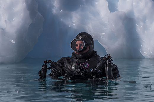 Scott Portelli profile shot from Antarctica, diving in the Antarctic circle