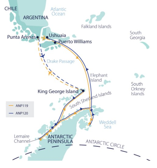 anp-120-map showing the journey of antarctic explorer tour