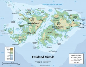 Falkland Islands map showing the new Falklands Itineraries