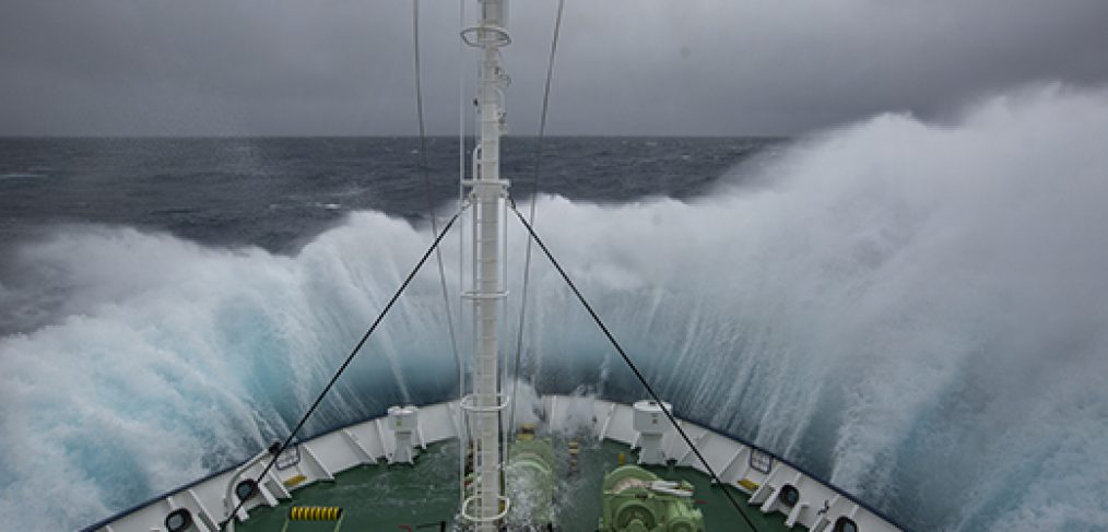 Ship crashing through huge waves on the way to Antarctica in the Southern Ocean on tour with Scott Portelli